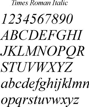 Times Roman Italic Classic Serif Style Font For A Look