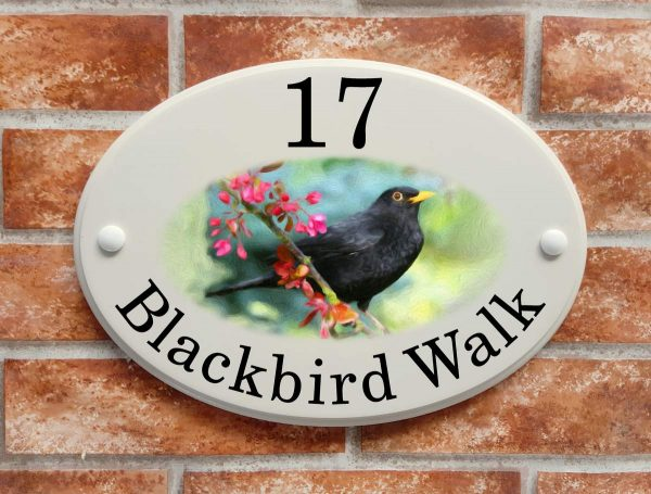 house sign with blackbird picture