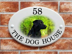Black labrador picture house sign